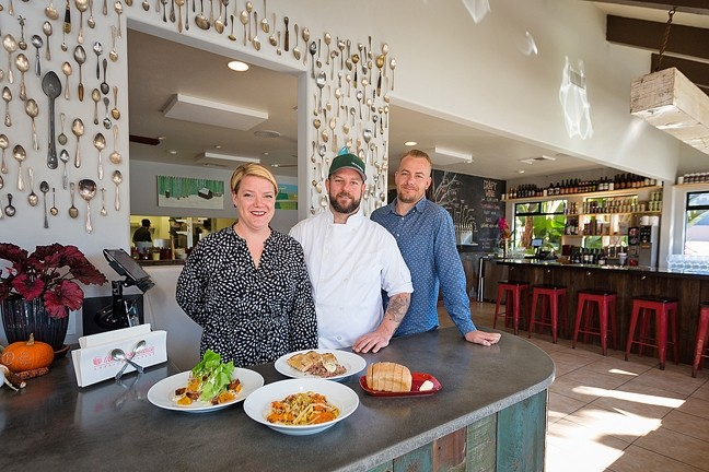POWER TRIO:  From left, The Spoon Trade Co-Owners Brooke and Jacob Town and Patrick Bergseid are bringing modern, fresh, seasonal American food to Grover Beach. - PHOTO BY KAORI FUNAHASHI