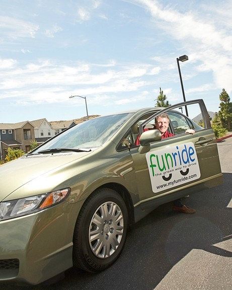 "SAVING EARTH AND HAVING FUN :  Mark Shaffer created FunRide, a ""green"" car-sharing service. His alternatively fueled cars are scattered throughout SLO and can be reserved through myfunride.com. - PHOTO BY STEVE E. MILLER"
