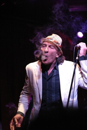 SCOFFLAW! :  Fee Waybill of The Tubes opened the set by smoking a cigarette on stage, showing SLO Town what he thinks of its laws! - PHOTOS BY GLEN STARKEY