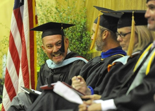 SPEECH! SPEECH!:  Faculty speaker Don Norton gave the keynote address for Cuesta's May 23 commencement ceremony. - PHOTO COURTESY OF JAY THOMPSON