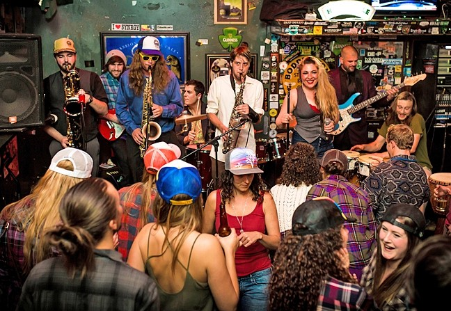 BOOTY-BUMPIN' FUNK:  Central Coast funk act Captain Nasty (pictured here at Frog and Peach Pub) will get SLO Brew dancing on Friday, Dec. 18. - PHOTO COURTESY OF CAPTAIN NASTY