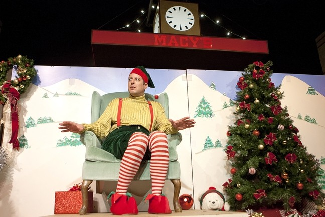 A LOW-KEY SORT OF AN ELF:  SLO Little Theatre Managing Artistic Director is Crumpet—aka humorist David Sedaris—in the one-man-show 'Santaland Diaries.' Joe Mantello's adaptation of Sedaris' essay (on working as an elf in Macy's SantaLand) is directed by Suzy Newman. - PHOTO BY STEVE E. MILLER