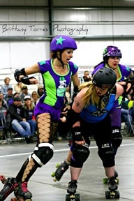 JAMMER POWER:  Roll V. Wade fought for points for the Broad St Brawlers. - PHOTO BY BRITTANY TORRES PHOTOGRAPHY