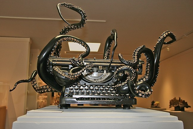 WRITE UNDER THE SEA:  This 1938 Underwood typewriter has been transformed into a strange sea monster by young artist Courtney Brown of Oakland. Titled 'Self Organization,' the first-place-winning sculpture is on display through Nov. 15 as part of SLOMA's California Sculpture SLAM exhibit. - PHOTO BY HAYLEY THOMAS