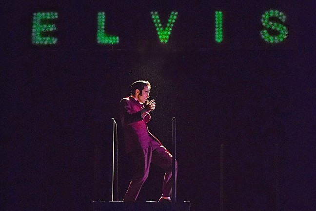 ELVIS, BABY :  In Cuesta Colllege's original musical production, 'Refried Elvis,' everyone wants to get their hands on Elvis Presley (Tony Costa, pictured here and above) whether they like him or not. - PHOTO COURTESEY OF SAVANNAH GARCIA
