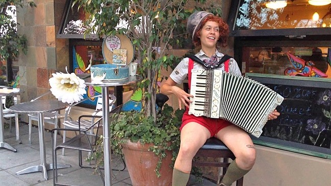 NEO VAUDEVILLE:  Oakland-based performer Karla Mi Lugo sounds like Billie Holiday, whistles like a champ, and may draw your portrait on a balloon between her charming accordion-driven songs on Jan. 16 at Linnaea's Café. - PHOTO COURTESY OF KARLA MI LUGO