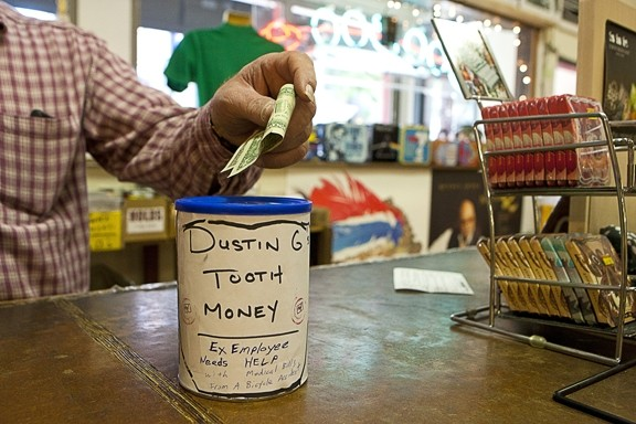 MAKE 'EM SMILE :  To donate money to Dustin Garrison's dental fund, drop by Urban Outfitters or Boo Boo Records - PHOTO BY STEVE E. MILLER