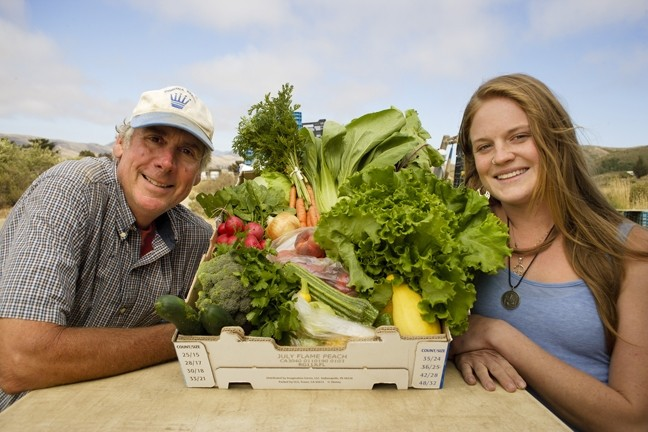 THINK LOCAL :  Jim Terrick of Clark Valley Organic Farm and Sami Schermerhorn connect area schools with SLO County growers. - PHOTO BY STEVE E. MILLER
