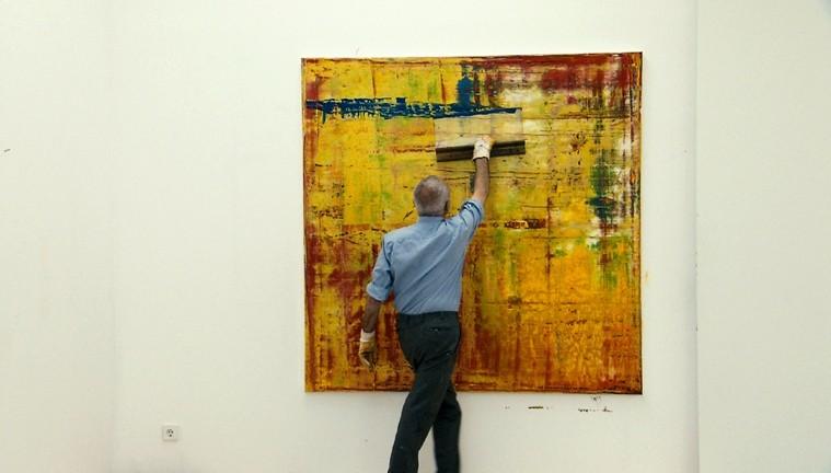 SQUEEGEE MASTER :  Filmmaker Corinna Belz follows German artist Gerhard Richter, pictured, in the documentary film Gerhard Richter Painting.