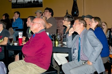 "RAPT ATTENTION:  Attendees of a ""Pub Science Night"" at Luis Wine Bar made a captive audience. - PHOTO BY DENNIS EAMON YOUNG"