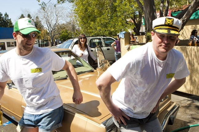 SHAM-WOW! :  Dan and Patrick put the finishing … um, touches on a newly washed car. - PHOTO BY STEVE E. MILLER