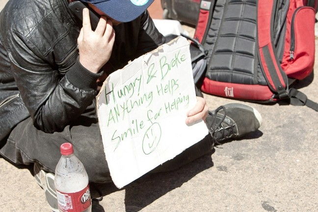 """PANHANDLING PROBLEMS:  While the majority of SLO County's homeless choose not to panhandle, SLO Police Chief Steve Gesell said that the high concentration of panhandlers in the """"lucrative"""" downtown SLO environment is a significant concern. - FILE PHOTO BY STEVE E. MILLER"""