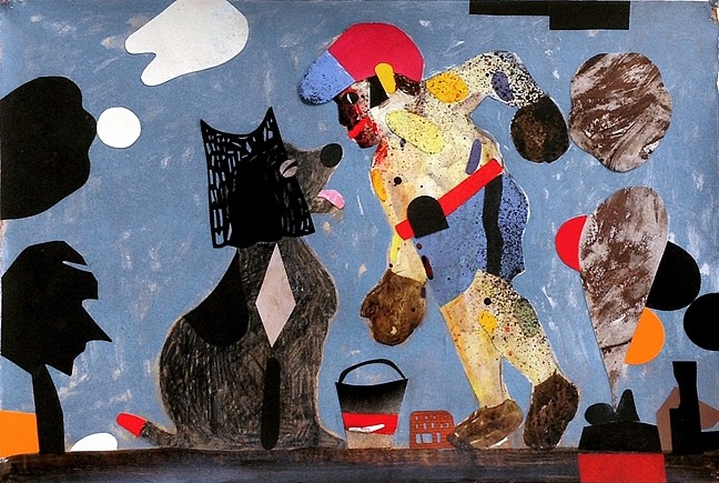 THRILLER:  T.S. Solien's collage of a boxer and a dog shows alongside his seven other cartoon-like images at Left Field through the end of September. - IMAGE COURTESY OF LEFT FIELD