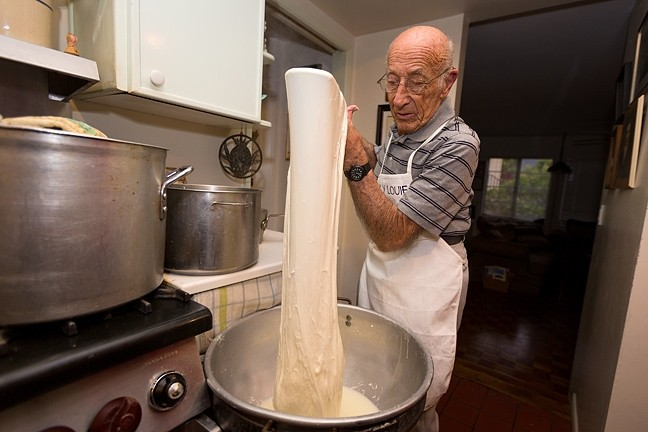 LIKE RIDING A BIKE:  Lou Tedone, 91, grew up making mozzarella cheese at his parents' shop in Brooklyn. For the past 25 years, he's risen at dawn to make flavorful batches every day. - PHOTO BY KAORI FUNAHASHI