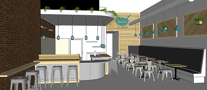 GREEN SPACE :  A rendering of Bowl'd at 1028 Chorro Street in downtown SLO shows off a garden of hanging plants and a calm, modern vibe. - IMAGE COURTESY OF BOWL'D
