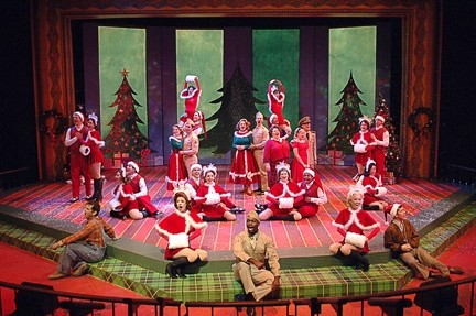 """WHERE TREETOPS GLISTEN :  Fake snow, muffs, boots, red and white trim, and an audience sing-a- long. What more could you want? """"Vermont should be beautiful this time of year."""" - IMAGE COURTESY PCPA"""