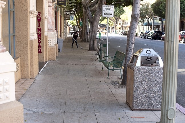 """BEAUTIFY? :  This stretch of Higuera will soon undergo extensive """"beautification"""" at a cost of more than $380,000 a block. - PHOTO BY STEVE E. MILLER"""