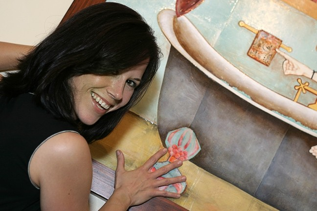 PAINTING MOLESTER! :  Lena Rushing, doing her best That Girl! Marlo Thomas impression, totally makes out with her painting. Her work hangs at Linnaea's Café through Jan. 31. - PHOTO BY GLEN STARKEY