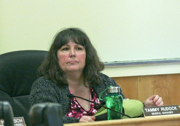 TORCHES AND PITCHFORKS :  Former Cambria Community Services District general manager Tammy Rudock (pictured) sat an April 28 board of directors meeting, approximately 24 hours before being canned. Not pictured are the approximately 300 residents calling for her immediate termination. - PHOTO BY MATT FOUNTAIN