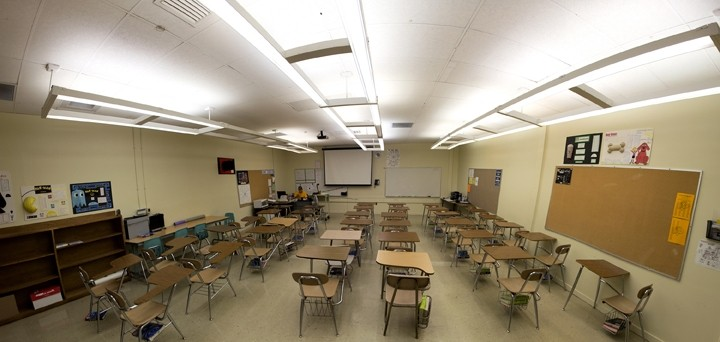 BOXED IN:  Many of the classrooms at San Luis Obispo High School are cramped and have no windows. - PHOTO BY KAORI FUNAHASHI