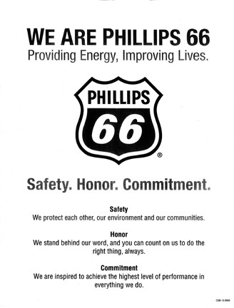 PRIORITIES? :  Phillips 66's newly unveiled logo and motto places safety first. - IMAGE COURTESY OF STEVEN SWADER