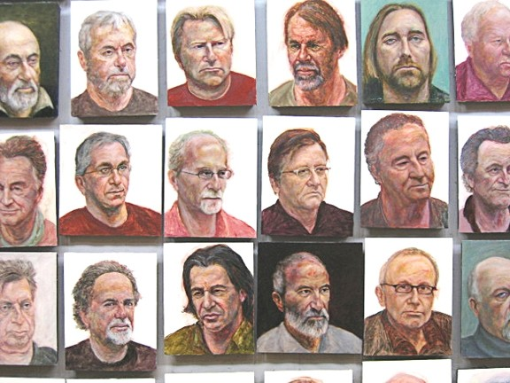 WALL OF MUGS :  Here are a few of the 44 portraits David Settino Scott painted of his male friends. They're on display at Steynberg Gallery through the end of July, with an artist's reception scheduled for July 1. - IMAGE COURTESY OF DAVID SETTINO SCOTT