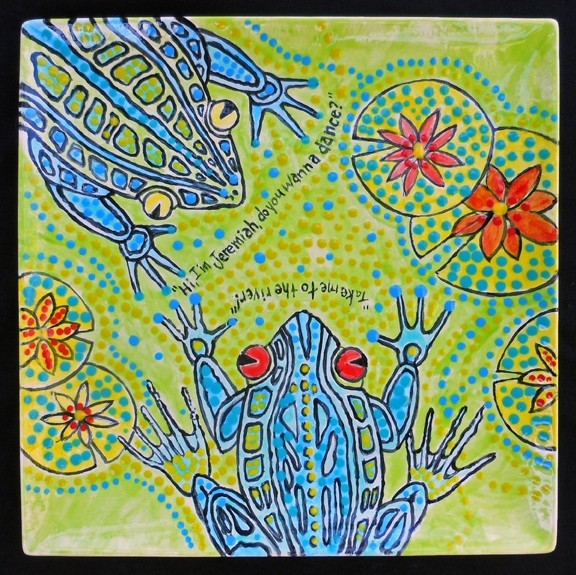 """JOY TO THE WORLD:  Los Osos-based artist Larry LeBrane took inspiration for his fused glass bookplate from the book """"Frog Music"""" by Emma Donoghue and the classic - tune, """"Joy to the World,"""" by Three Dog Night. - PHOTO COURTESY OF PASO ROBLES CITY LIBRARY"""