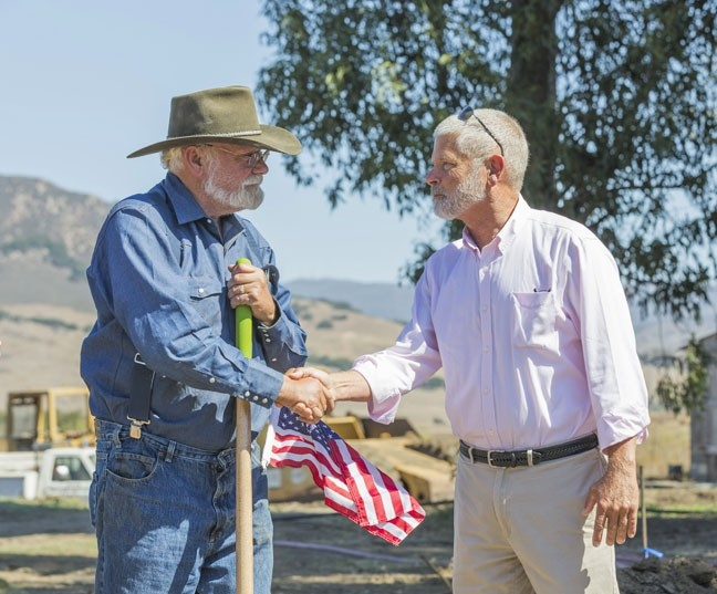 TRUCE:  After years of arguments with SLO County officials, such as Supervisor Bruce Gibson (pictured right), over code violations at Sunny Acres, owner Dan De Vaul was able to come to an agreement that resulted in a building permit for a 14-bed housing structure. - FILE PHOTO BY COLIN RIGLEY