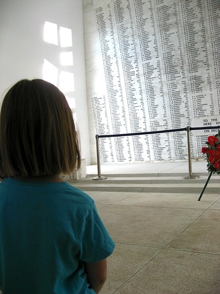 COMING ALIVE:  In the shrine room of the USS Arizona memorial, my 4-year-old daughter stared at the names of the men and women who died aboard the battleship. We visited the Pearl Harbor historic sites on March 10, where we interacted with a piece of our nation's history. - PHOTO BY ANDREA ROOKS