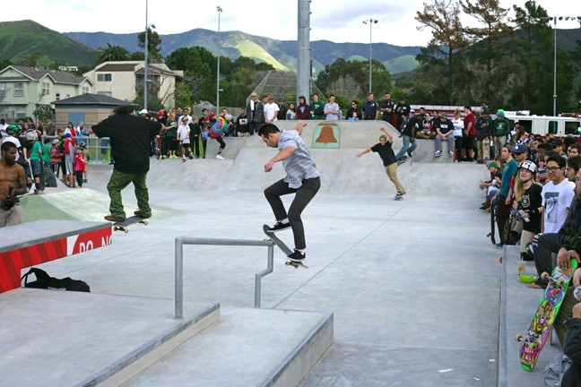 STREET SKATERS!:  All the rails, steps, and ledges street skaters aren't allowed to skate on public and private property are available at the new park. - PHOTO BY GLEN STARKEY