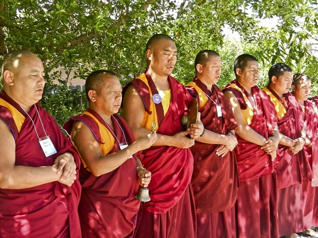 FREE BLESSINGS!:  The Gomang Monks, pictured, will offer a puja, or blessing, on homes, businesses, creative projects, and people in need. - PHOTO COURTESY OF ANET CARLIN