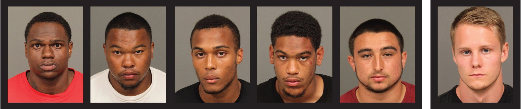 THE SUSPECTS:  San Luis Obispo police arrested Cal Poly students (from left) Cortland Fort, Kristaan Ivory, Dominique Love, Cameron - Akins, Jake Brito, and Gear McMillan between Aug. 10 and Sept. 4. McMillan was arrested on suspicion of drug-related offenses, and the other five (all football players) were arrested on suspicion of planning or carrying out an armed robbery. - PHOTOS COURTESY OF SLOPD