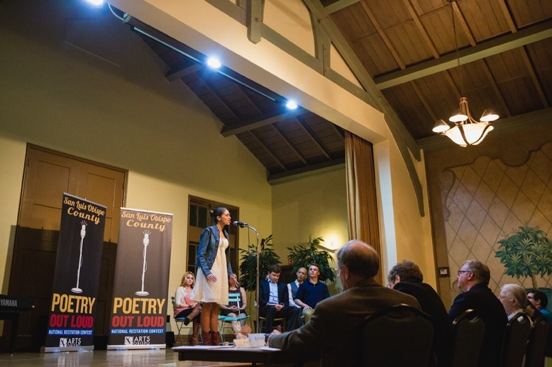 "SPEAK, HANDS FOR ME:  Nipomo High School freshman Graciela Maldonado garnered second place at Poetry Out Loud for her renditions of Judith Ortiz Cofer's ""El Olvido"" and Brenda Cardenas' ""Zacuanpapalotls."" - PHOTO BY KAORI FUNAHASHI"