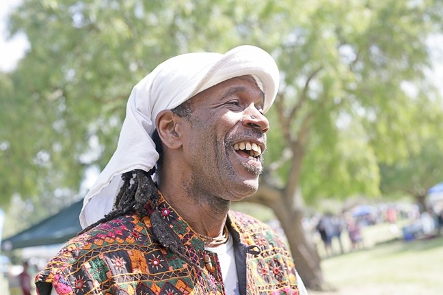 """EARTH DAY SMILES :  Everyone had a great time, including local musician Al """"Shival"""" Redwine, at Earth Day. - PHOTO BY GLEN STARKEY"""
