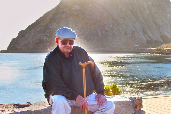 LOCAL LEGEND:  Jim Hayes, retired journalism teacher and writing coach, died on June 10. He's pictured here near Morro Bay Harbor, where he loved to stroll. - PHOTO COURTESY OF KELLY HAYES