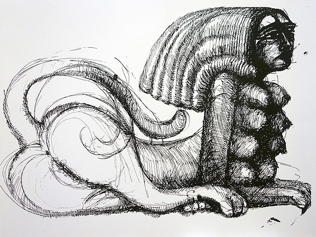 SPHINX :  After being inspired by a documentary on Egypt, Scott created a series of pen and ink drawings of feminized sphinxes. - IMAGE BY DAVID SETTINO SCOTT