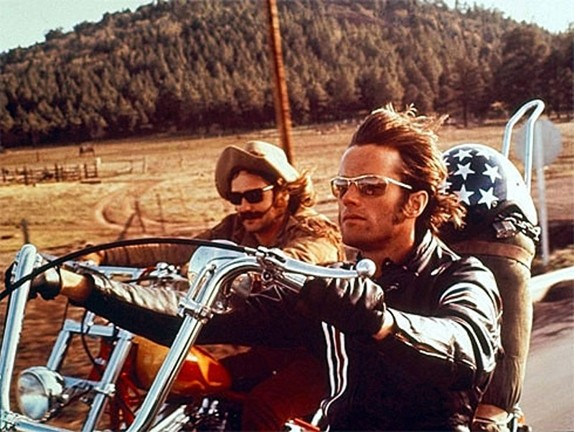 "VROOM-VROOM :  Dennis Hopper, left, and Peter Fonda, right, star as Wyatt and Billy, two bikers traveling from L.A. to New Orleans in search of America, in Easy Rider. The ""New Hollywood"" filmmaking culture Hopper's film embodied is the subject of an intriguing documentary by Kenneth Bowser. - PHOTO COURTESY OF COLUMBIA PICTURES"