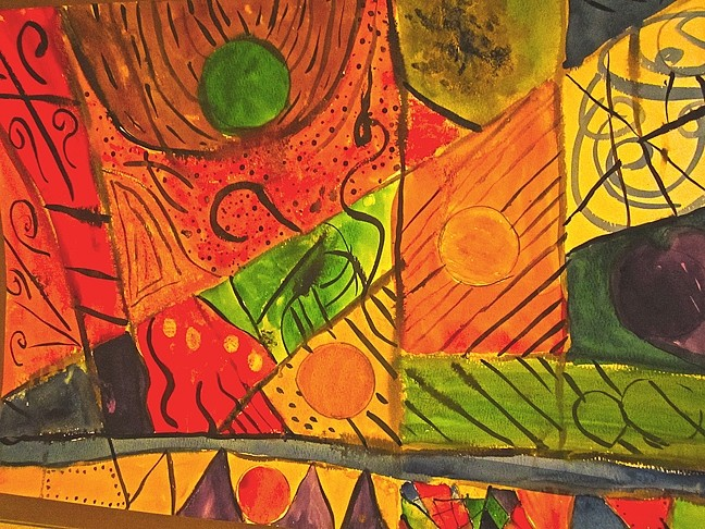 IN THE MIX:  George Janowicz, age 10, created this mixed media piece during SLOMA's Youth Summer Arts Camps. - PHOTO COURTESY OF SLOMA