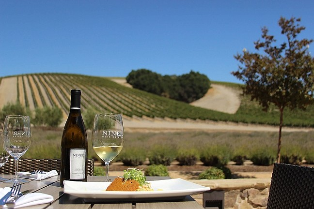 HEART THIS FLAVOR :  Heart Hill—an oak grove surrounded by vineyards—offers up a killer view at Niner Wine Estates. - PHOTO COURTESY OF NINER WINERY