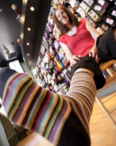 THE GAME IS A FOOT :  Brooke English takes fashion to the lower extreme with her new sock store in San Luis Obispo. - PHOTO BY STEVE E. MILLER