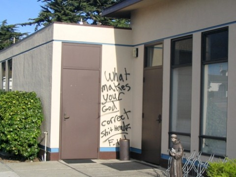 WHAT IN GODS NAME? :  Vandals armed with spray paint hit two churches in central San Luis Obispo County early on Oct. 4. Police declared both incidents hate crimes and suspect they could be related. - PHOTO COURTESY OF TOM SALMON