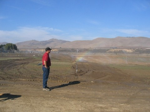 SOMEDAY SOON :  Jim Stollberg, Union Asphalts vineyard manager, is preparing the land to be ready for a spring planting of grapevines. This is just one of several local projects being carried out to put used mining pits to good use. - BY KATHY JOHNSTON