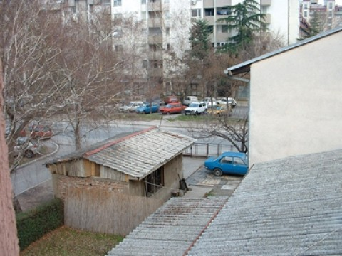ROOM WITH A VIEW :  A street scene in Skopje, capitol city of the Republic of Macedonia.
