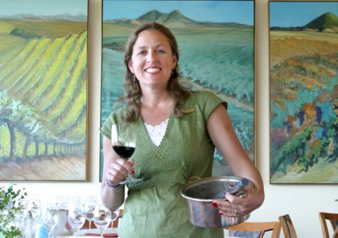 WINE AFICIONADO SHARES HER KNOWLEDGE:   Tina Hoppe explains the intricacies of wine and food pairing during a cooking class at Edna Valley Vineyards. - PHOTO BY CHRISTOPHER GARDNER