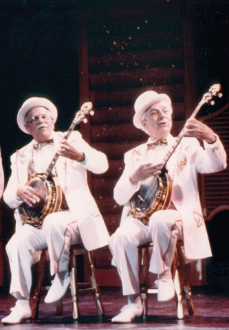 BANJOS WITH A VENGEANCE :  Bud and Jim Mercer played a dueling banjos number at the Palm Springs Follies. - PHOTO COURTESY OF BUD MERCER