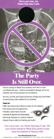 MARDI GRAS FLYER 2005:  Controversial message got its point across