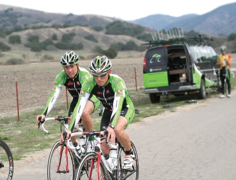 SPEED MACHINES :  Brian Sheedy, left, and Garrett Peltonen are members of Team Priority Health, a Michigan-based team training for the Amgen Tour of California in the Santa Maria Valley. Cyclists will make their way to San Luis Obispo on Feb. 22. - PHOTO BY CRAIG SHAFER