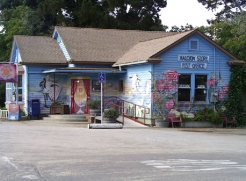 ONCE UPON A TIME :  This picture of the Halcyon Store and Post Office was taken after Verona ReBow completed the first phase of her mural. - PHOTO COURTESY OF VERONA REBOW