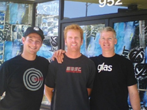 STOKED ON THEIR STOREFRONT :  Anthony Randazzo Jr., Nathan Ditmore, and Tim Cowan pose in front of the future location of San Luis Surf Co., at the corner of Morro and Higuera. - PHOTO COURTESY OF SAN LUIS SURF CO.