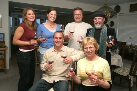 WINOS!:  Elizabeth Tangney, Kerry Moore, Michael Loconto, Glen Starkey, Kathy Marcks Hardesty, and Archie McLaren raise a glass in search of the truth about wine experts and price versus quality - CHRISTOPHER GARDNER